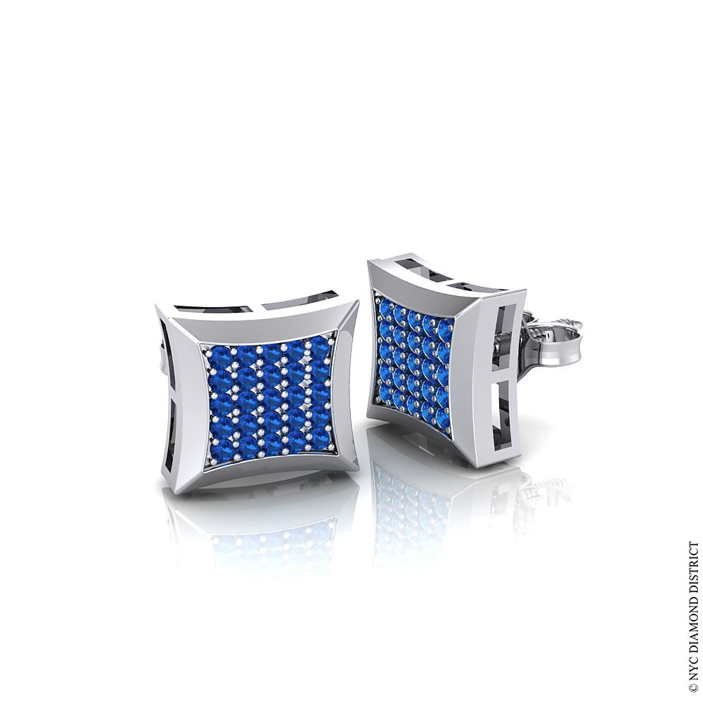 earrings blue ring for baguette sapphire diamond mens men yellow gold natural