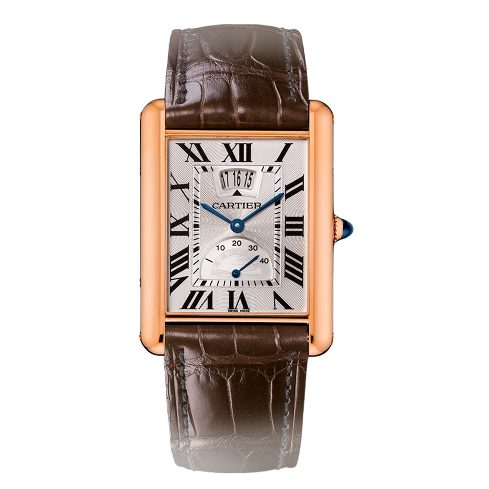strap cartier tank watch crocodile dial anglaise leather brown silver watches